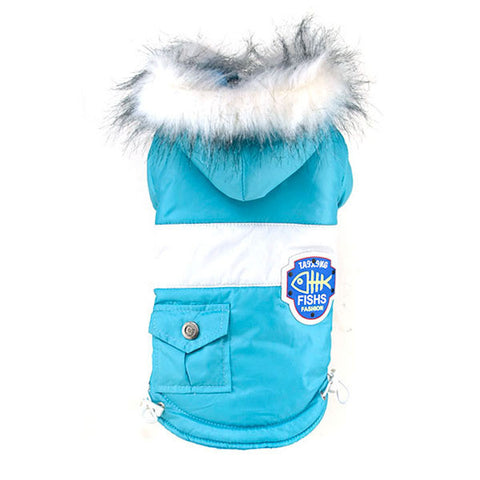 Dog Badges Pet Clothes Warm Coat Fur Trimmed Hoodies Doggy Pet Costume Puppy