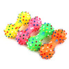 New  Lovely 1 PC Pet Dog Cat Puppy Color Sound Polka Dot Squeaky Rubber Dumbbell Chewing Toy color sent randomly 11.5*4.7cm - Pestora