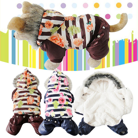 Floral Puffer Jacket for Small Dogs