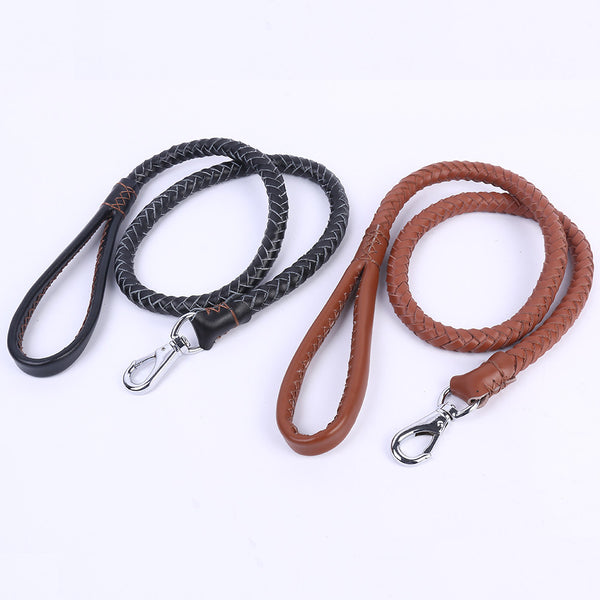 Real leather pet chain Medium-sized dogs Leash high-quality nylon Woven medium Dog Traction Rope large pet rope Large Dog Lead - Pestora