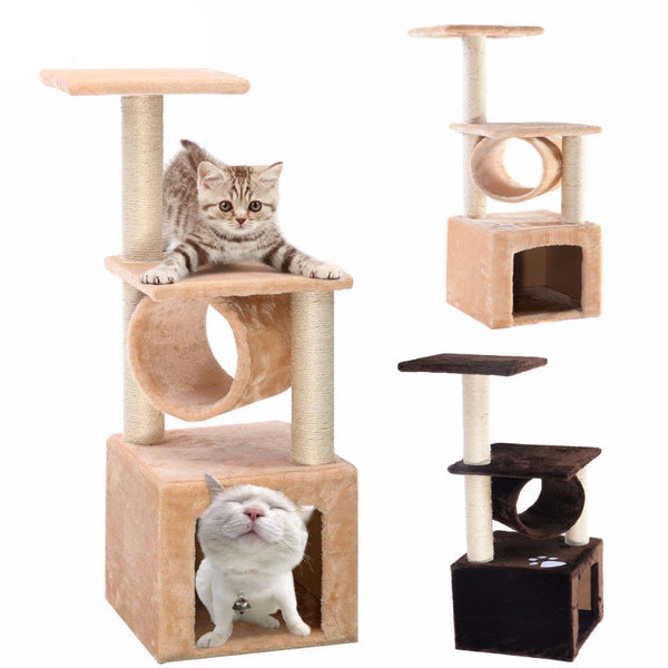 "Deluxe 36"" Cat Tree Condo Furniture Play Toy Scratch Post Kitten Pet House Beige  PS5797BE - Pestora"