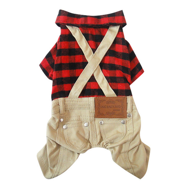 Boy Dog Cat Plaid Coat Jacket Jumpsuit Pet Puppy  Pants Strap&Pockets Clothes 4 sizes - Pestora