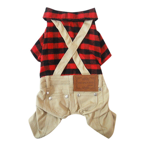 Boy Dog Cat Plaid Coat Jacket Jumpsuit Pet Puppy  Pants Strap&Pockets Clothes 4 sizes
