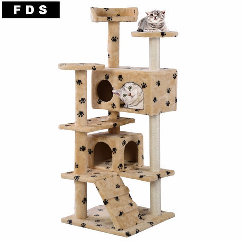 New Cat Tree Tower Condo Furniture Scratch Post Kitty Pet House Play Beige Paws PS5791YEDOG