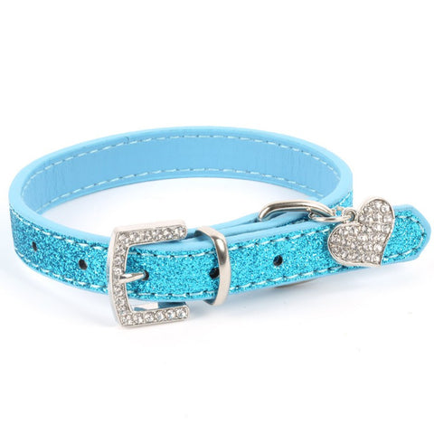 Hot Bling Crystal Pendant Leather Pet Dog Collars Puppy Cat Choker Necklaces - Pestora