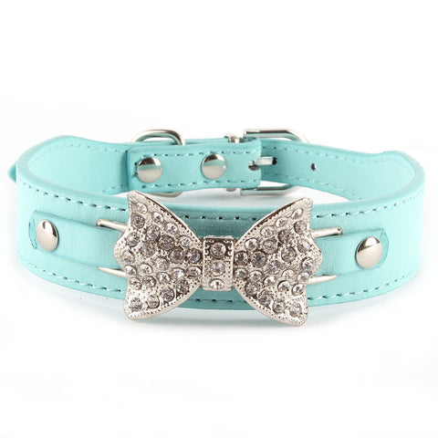 Dog Collar Bling Crystal Bow Leather Pet Collar Puppy Choker Cat Necklace XS S M - Pestora
