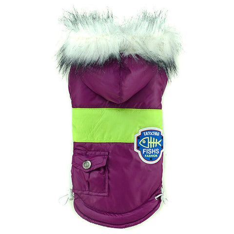 Dog Badges Pet Clothes Warm Coat Fur Trimmed Hoodies Doggy Pet Costume Puppy - Pestora
