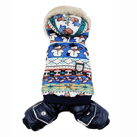 Dog Winter Warm Coat Snowman Jacket pet puppy Jumpsuit hoody clothes