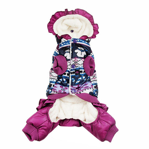 Dog Winter Warm Coat Snowman Jacket pet puppy Jumpsuit hoody clothes - Pestora