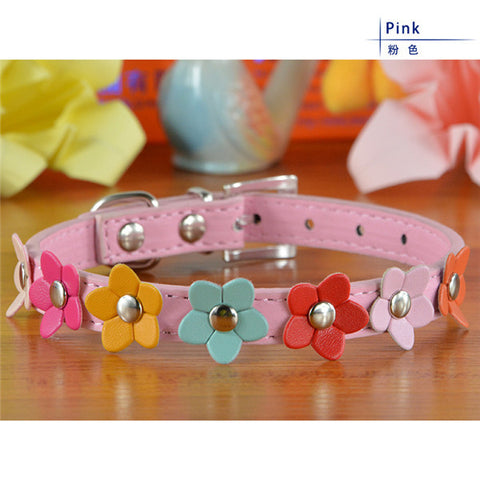 Fashion 5Colors 4 Sizes Leather Puppy Pet Dog Collar Cat Neck Strap Necklace with Studded  Sweet Flower - Pestora