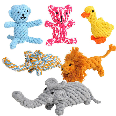 5 Kinds Dog Chew Toys Cute Animal Models Cotton Rope Pet Toys Useful Molar Dog Toys Clean Teeth Rope Pet Toys For Teath  PY923