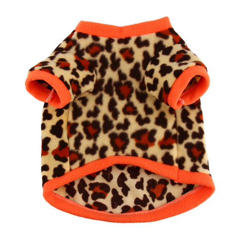 1Pcs Small Dog Clothes Fleece Soft Leopard T-shirt Pet Sweater Clothing Costumes - Pestora