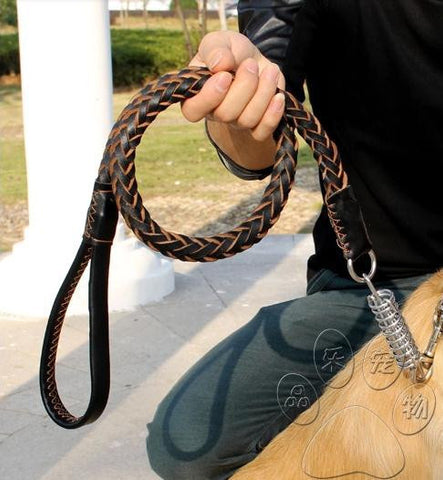 High Quality Genuine Leather Large Dog Leashes Pet Traction Rope Collar Set For Big Dogs Black Brown