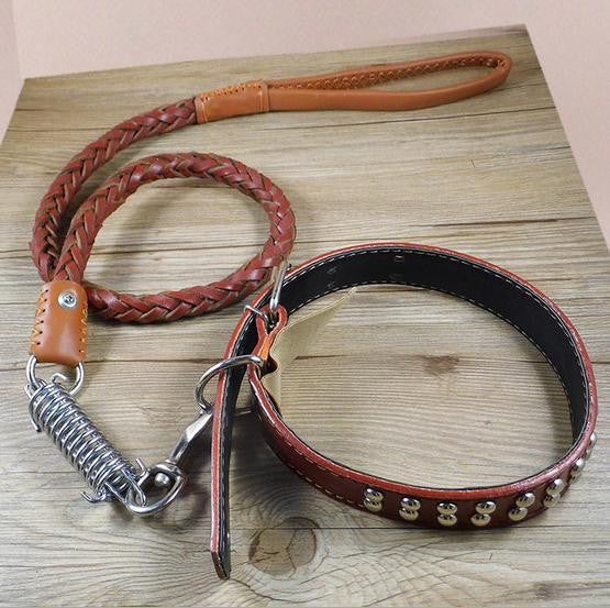 High Quality Genuine Leather Large Dog Leashes Pet Traction Rope Collar Set For Big Dogs Black Brown - Pestora