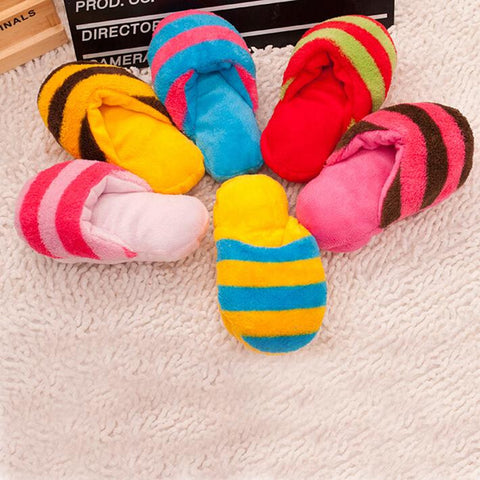 Cute Plush Slipper Shape Squeaky Toy  Puppy Chew Play Toy Sound Pet Supplies Dogs for Dogs Free Shipping CWYP015