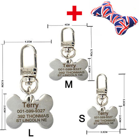 Free engraving text on front and back sides stainless steel pet dog tag customized name address telephone free toys attaching