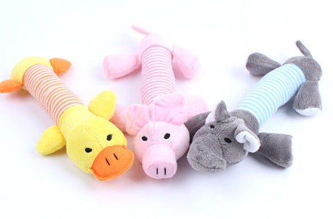 New Dog Toys Pet Puppy Chew  Squeaky Plush Sound Duck Pig Elephant Toys 3 Designs  Rubber Round Ball with Small Bell Toy