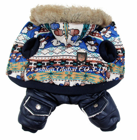 High Quality Pet Dog Winter Warm Coat Snowflake Cartoon Bear Style Pet Dog Puppy Jumpsuit Hoodies Clothes