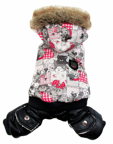 High Quality Pet Dog Winter Warm Coat Snowflake Cartoon Bear Style Pet Dog Puppy Jumpsuit Hoodies Clothes - Pestora