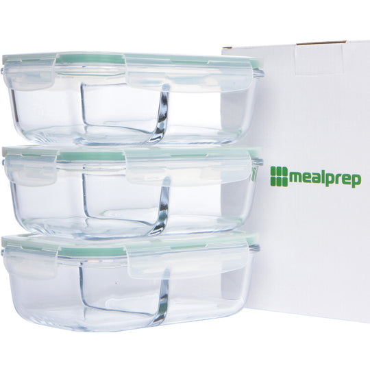 Glass Meal Prep Container with Divider (40 Oz, Set of 3)