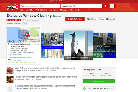 Yelp Reviews For Exclusive Window Cleaning