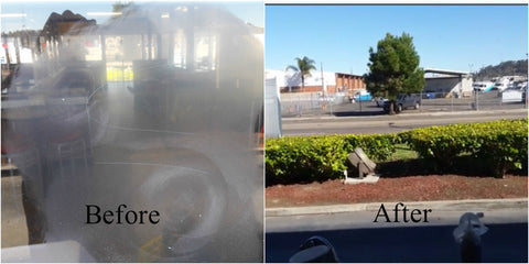 Glass graffiti removal before and after photos