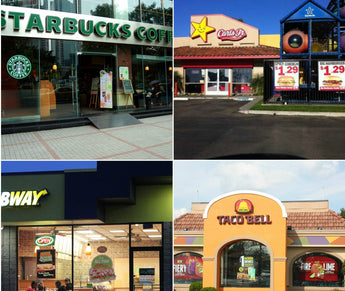 window cleaning for franchise locations and corporate owned stores like Starbucks, Carls Jr., Taco Bell, KFC, Subway