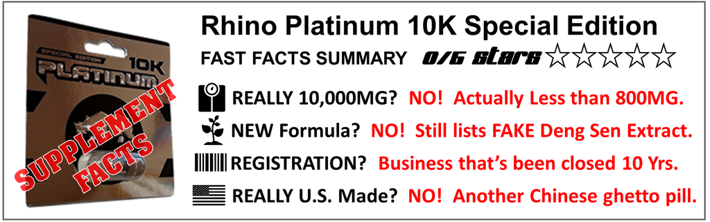 banner illustrates facts on rhino platinum 10k pills ingredients weights and manufacturing