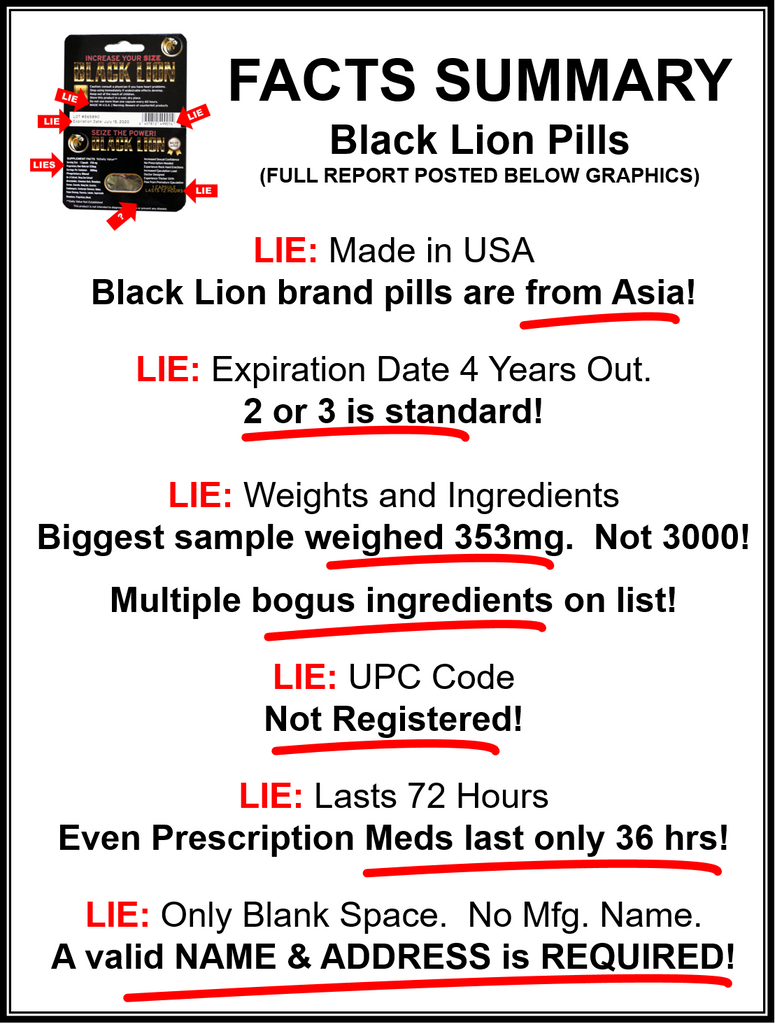 Chart of Black Lion pill facts including the ingredients manufacture and duration of action