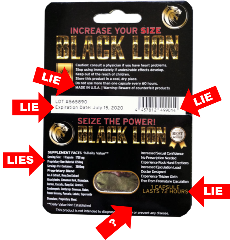 Black Lion Pill review graphic shows fraudulent data on packaging.