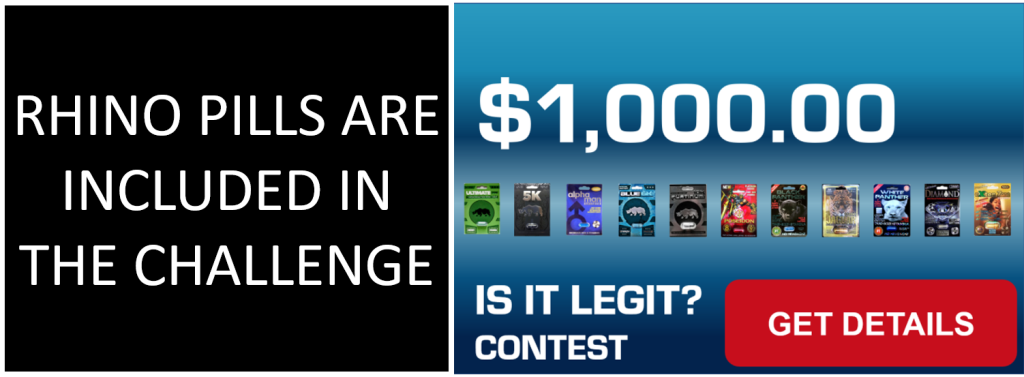BANNER SHOWS THAT RHINO PLATINUM 10K IS INCLUDED IN THE 1000 DOLLAR CONTEST