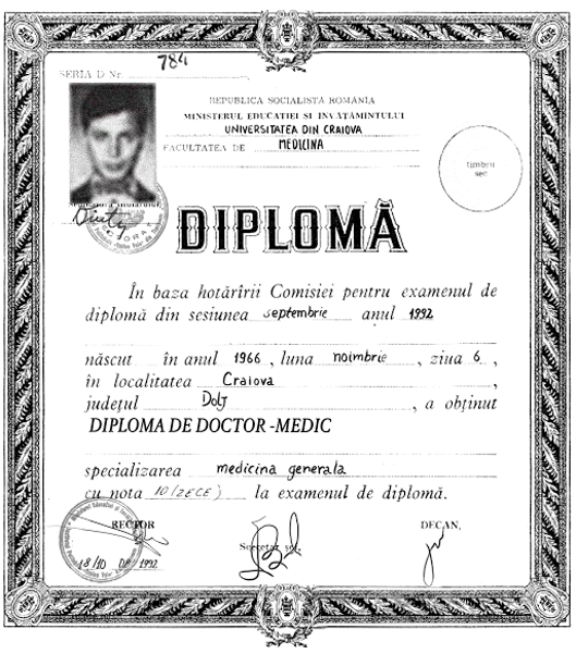 Vimax Dr Mario Dumitrascu diploma image after restoration by italian specialist.