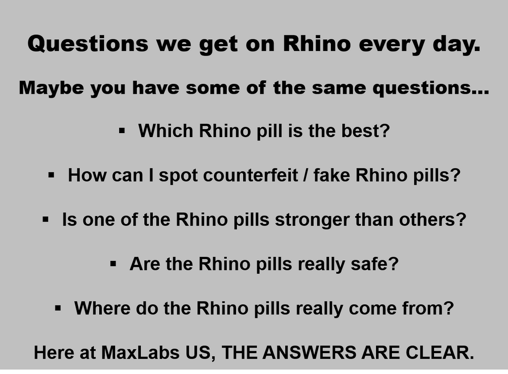 MaxLabs US list of FAQ on Rhino Pills