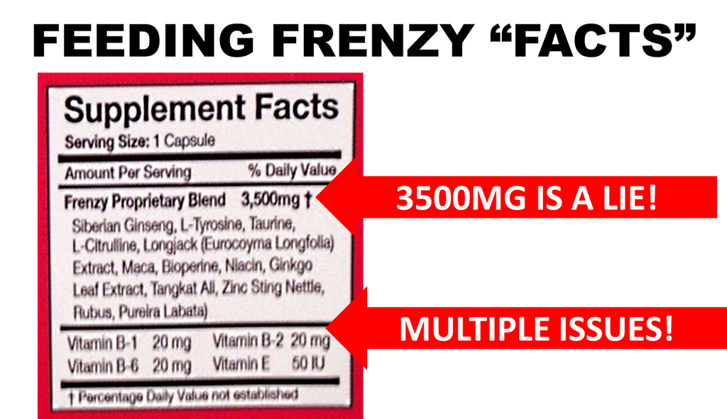 FEEDING FRENZY PILLS REVIEWS IMAGE OF THE SUPPLEMENT FACTS INGREDIENTS PANEL