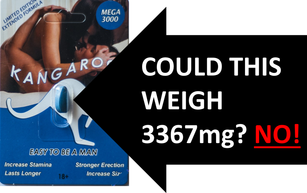 IMAGE OF KANGAROO MEGA 3000 PILL SHOWS THE TABLET SIZE IS NOT POSSIBLE