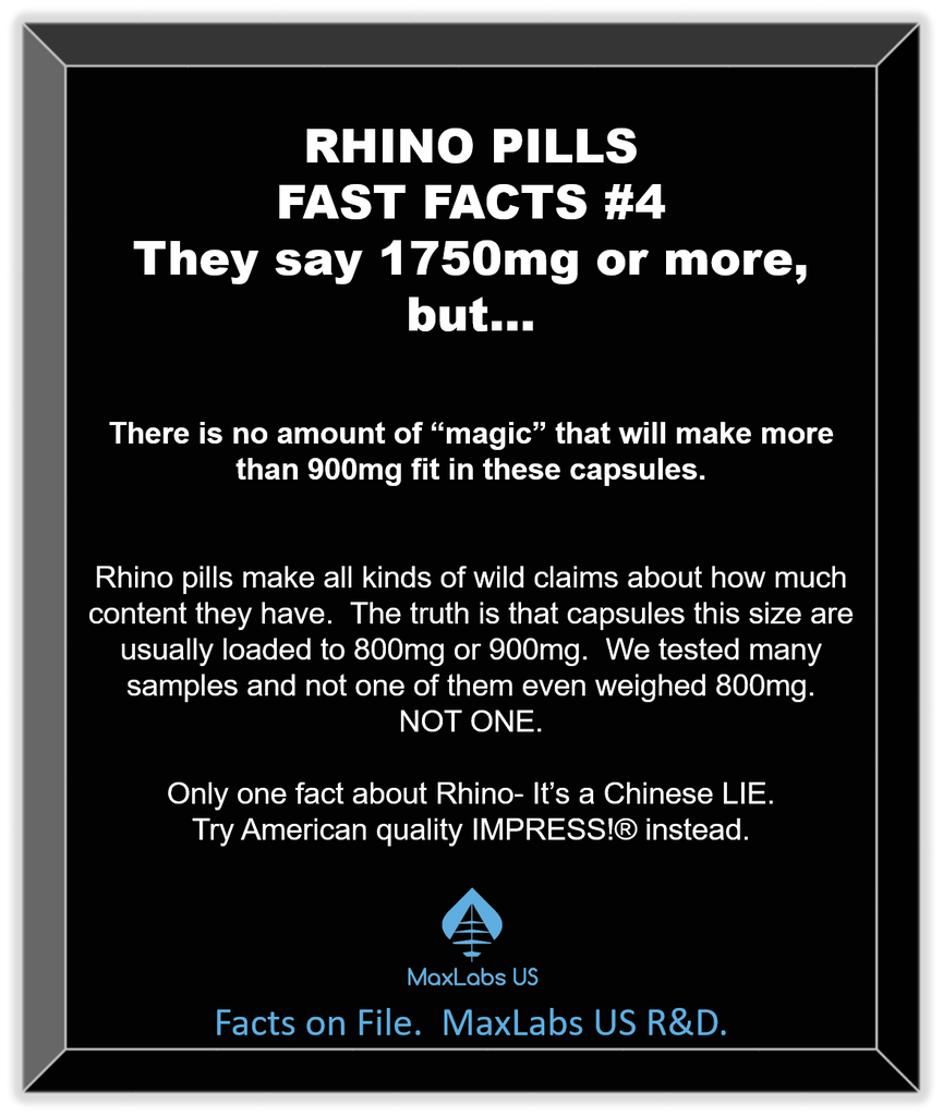 Rhino pills ingredients weigh less than 800mg
