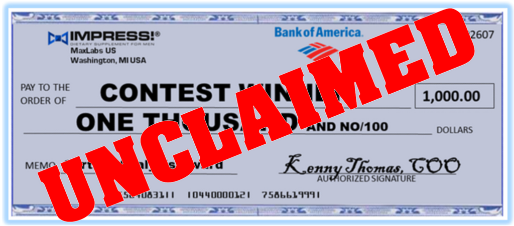 IMAGE OF UNCLAIMED CHECK FOR RHINO PILL CHALLENGE