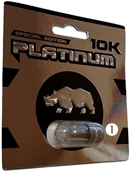 Image of front of Rhino special edition platinum 10K pill