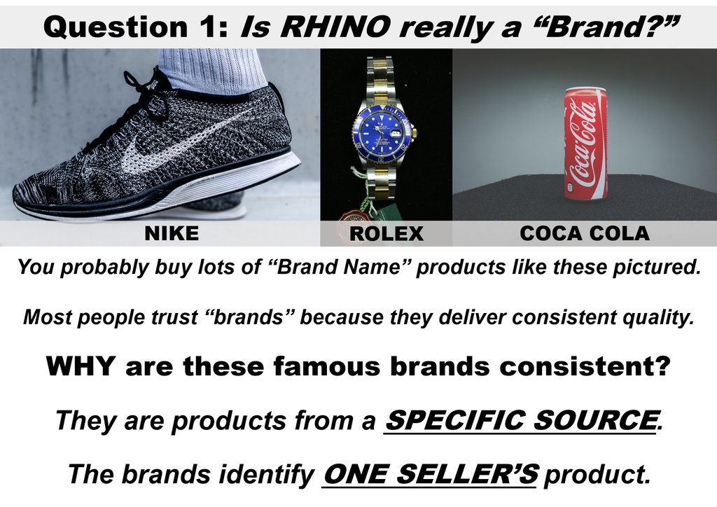 Image shows traditional brand name products.  Rhino pills are not really a true brand.