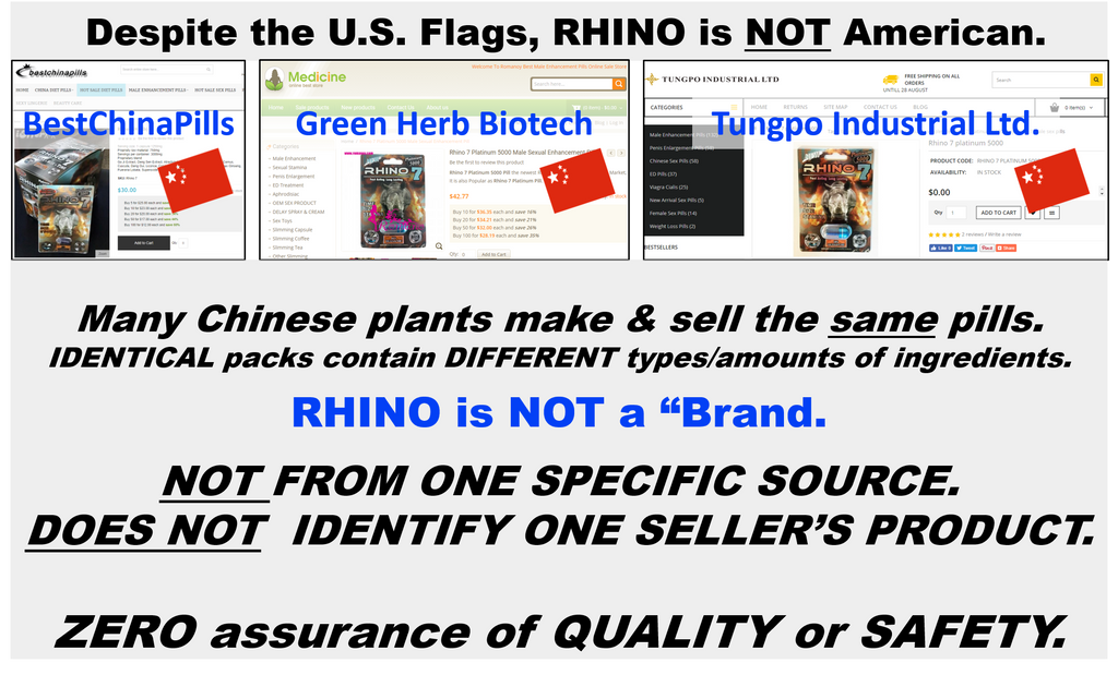 Image shows three identical packs of Rhino pills each from different china manufacturers