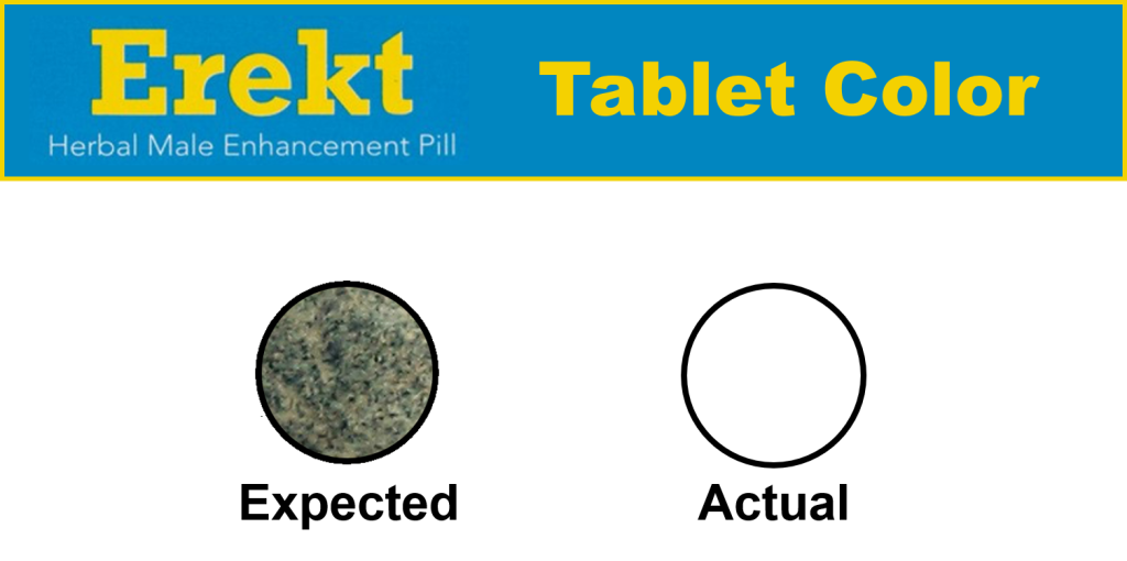 picture of erekt pill ingredients for the erekt pill reviews that shows tablet color