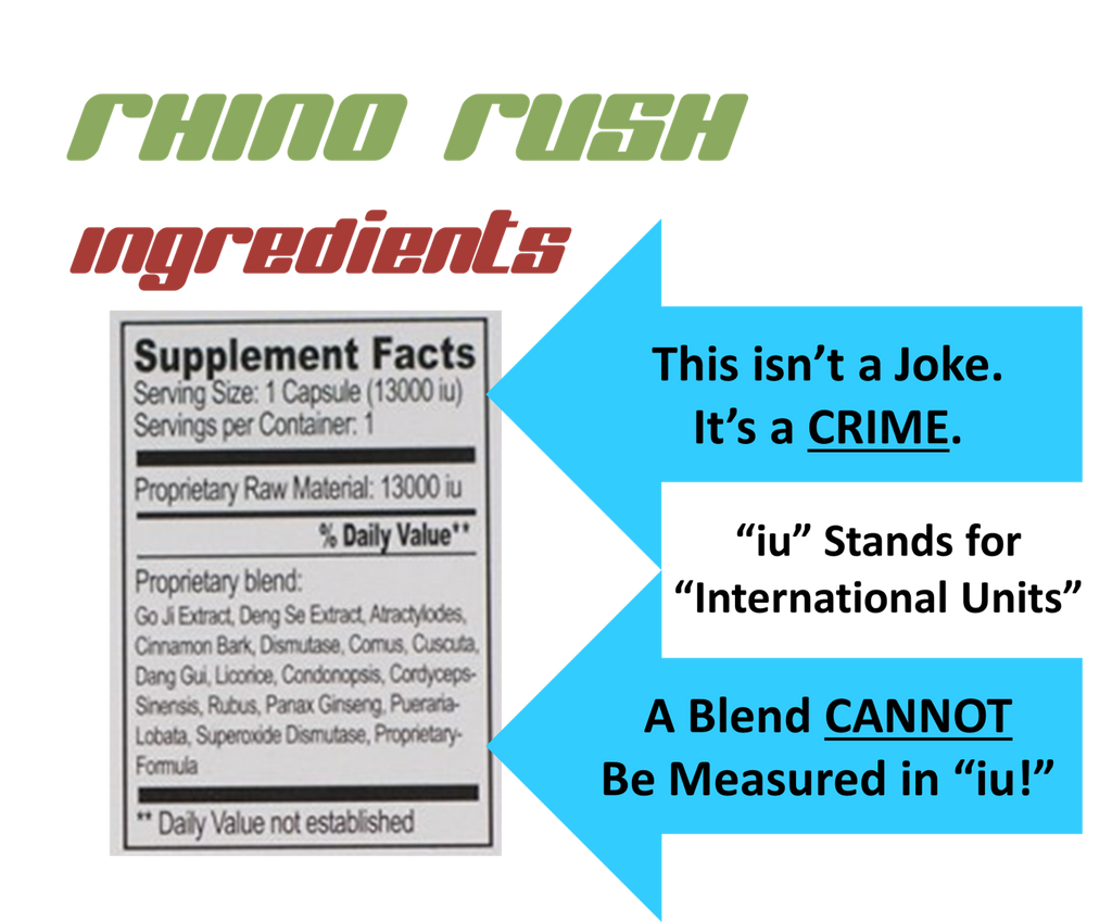 image for rhino rush solo 12000 for rhino rush 50 pill reviews shows the ingredients