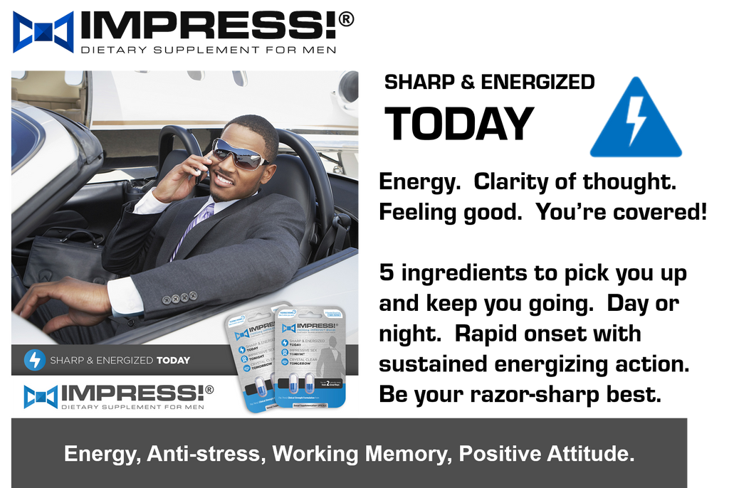 Sharp and energized, IMPRESS1600 contains cereboost the strongest nootropic supplement