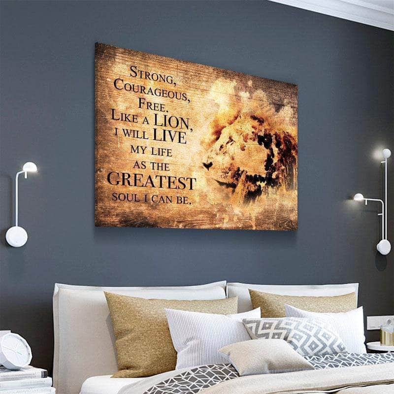 Lion Life Quote Canvas Set