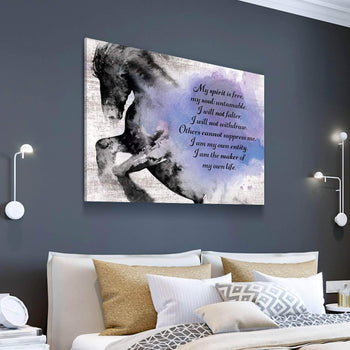 Horse Free Spirit Quote Canvas Set