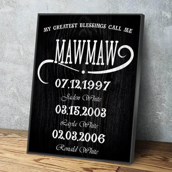 My Greatest Blessings Call Me MAWMAW Custom Canvas Set