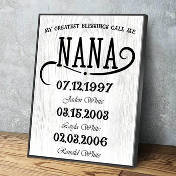 My Greatest Blessings Call Me NANA Custom Canvas Set