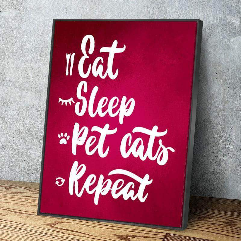 Eat Sleep Cat 11 x 14 Canvas Set (Free Shipping)