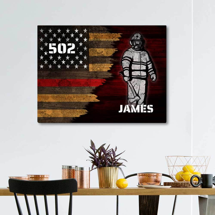Fire Fighter Name and Number Custom Canvas Set