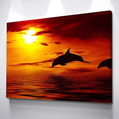 Sunset Dolphins Canvas Set